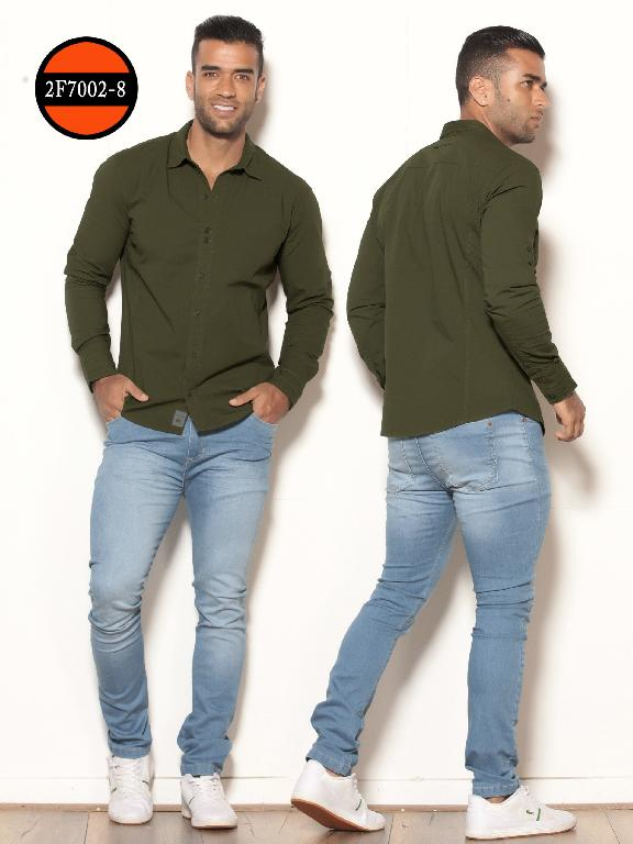 Colombianan Long Sleeve Shirt For Men Slim Fit Green - Ref. 260 -2F7002-8 Verde