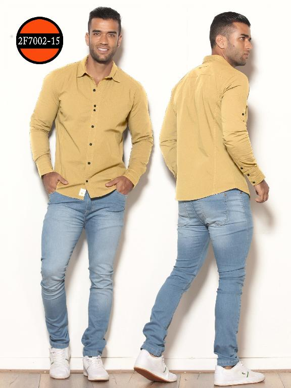 Colombianan Long sleeve Shirts For Men Slim Fit, Yellow - Ref. 260 -2F7002-15 Amarillo