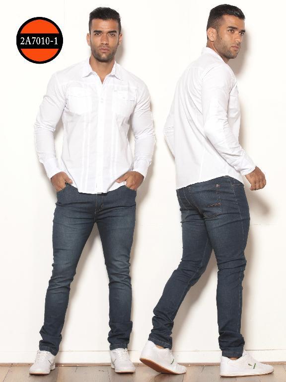 Camisa de Moda Colombiana Slim Fit para Hombre - Ref. 260 -2A7010-1 Blanco
