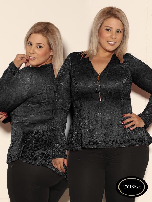 Blusa Moda Azulle Fashion - Ref. 256 -T17613B - 2 Negro