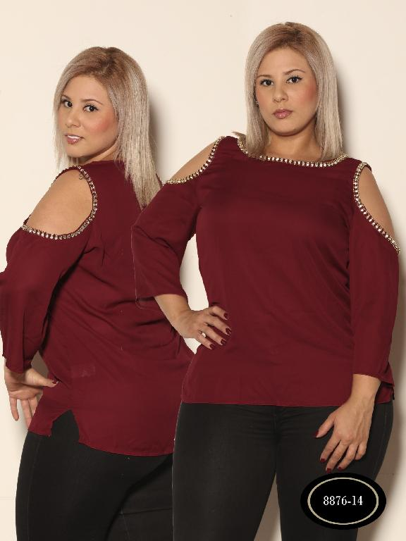 Blusa Moda Azulle Fashion - Ref. 256 -8876 - 14 VinoTinto