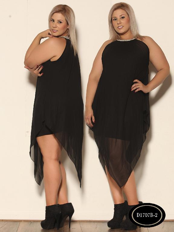 Vestido Moda Azulle Fashion - Ref. 256 -D1707 B - 2 Negro