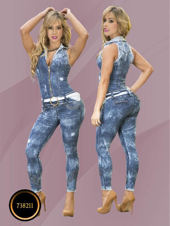 Enterizo Colombiano Moda Yes Brazil - Ref. 113 -7382 Azul Oscuro