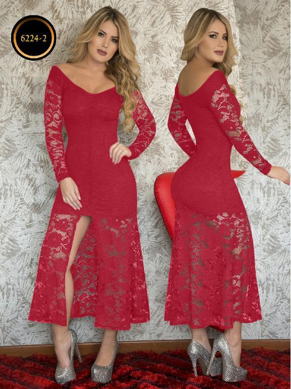 Vestido Largo Moda Thaxx - Ref. 119 -6224-2 Rojo