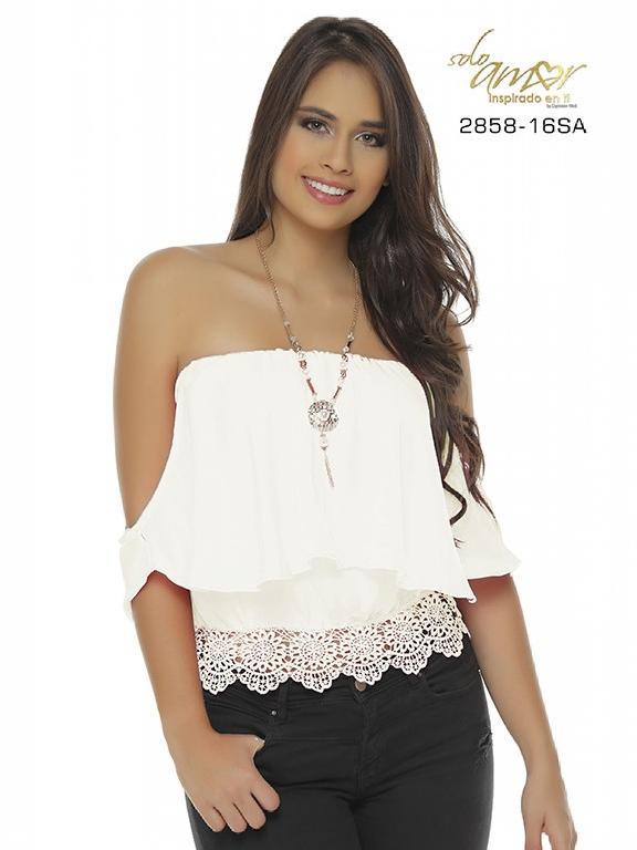 Blusa Moda Colombiana Solo Amor  - Ref. 246 -2858-16 SA Beige