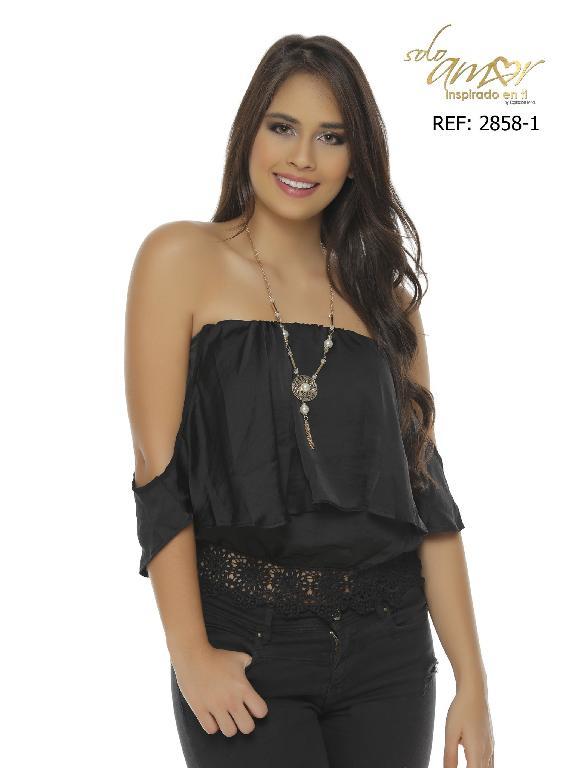 Blusa Moda Colombiana Solo Amor  - Ref. 246 -2858-2 SA Negro