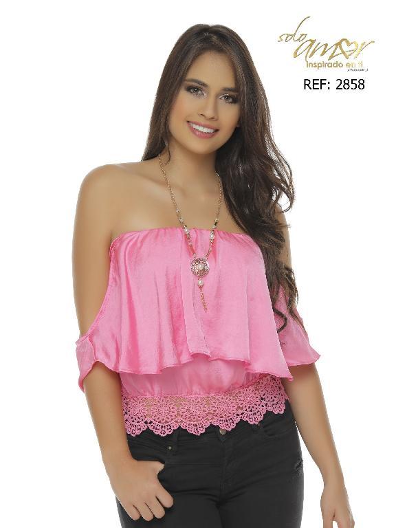 Blusa Moda Colombiana Solo Amor  - Ref. 246 -2858-7 SA Fucsia