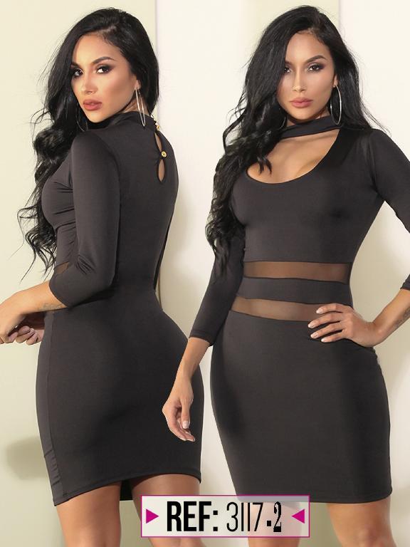 Vestido Moda colombiana Cereza  - Ref. 111 -3117-2 Negro
