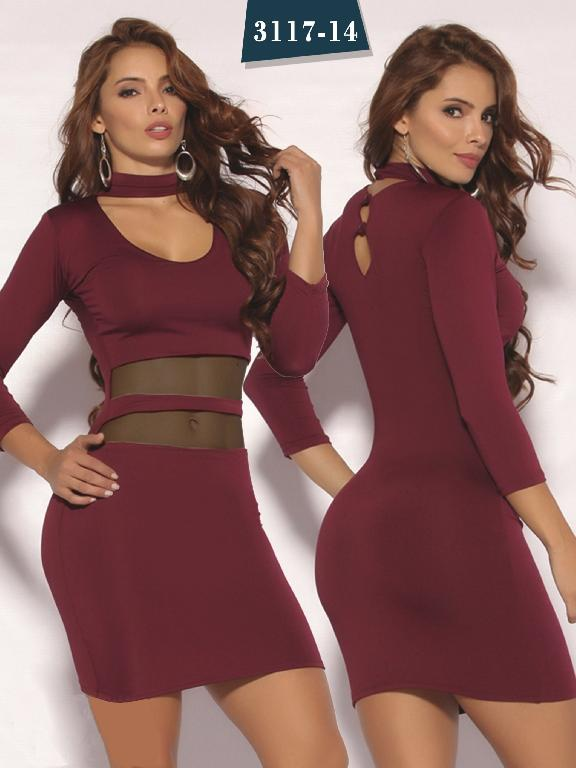 Vestido Moda colombiana Cereza  - Ref. 111 -3117-14 Vinotinto