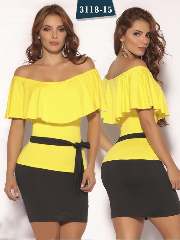 Vestido Moda Colombiana Cereza - Ref. 111 -3118-15 Amarillo