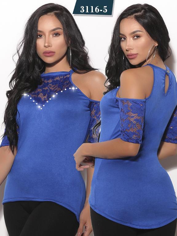 Blusa Moda Colombiana Cereza - Ref. 111 -3116-5 Azul