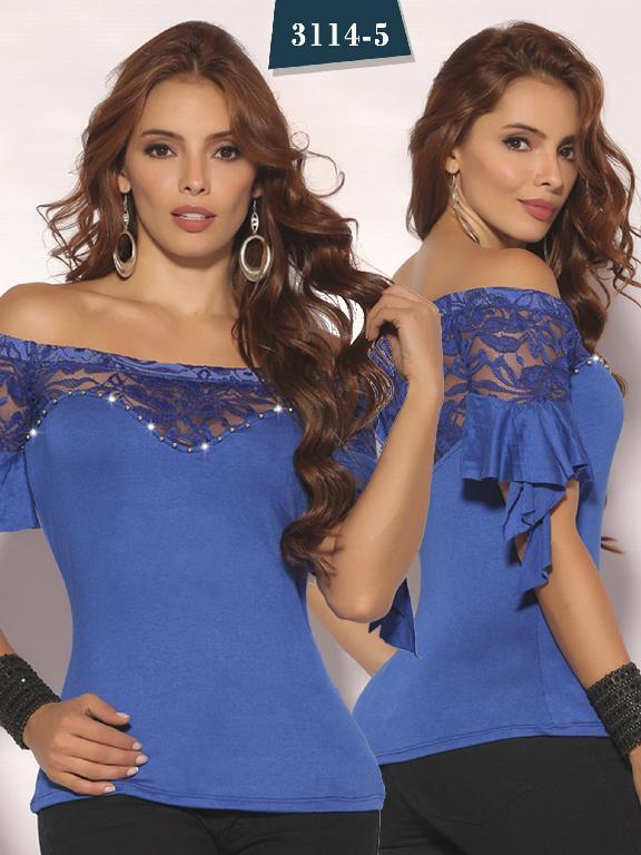 Blusa Moda Colombiana Cereza - Ref. 111 -3114-5 Azul