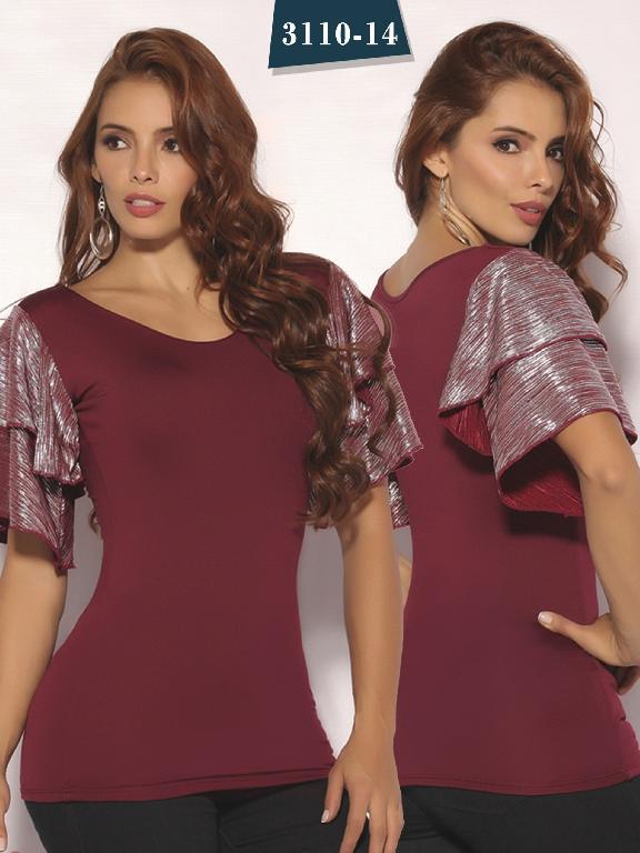 Blusa Moda Colombiana Cereza - Ref. 111 -3110-14 Vinotinto