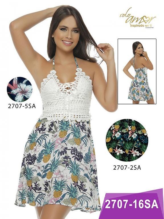 Vestido Moda Colombiana Solo Amor  - Ref. 246 -2707-5 Azul