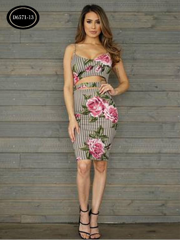 Vestido Moda Azulle Fashion  - Ref. 256 -D6571-13 Gris