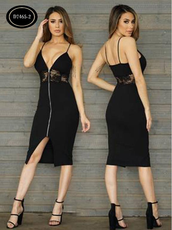 Vestido Moda Azulle Fashion  - Ref. 256 -D7465-2 Negro