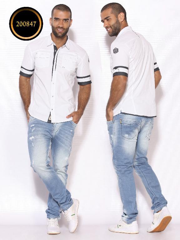 Camisa de Moda Colombiana Slim Fit para Hombre - Ref. 260 -200847 - Blanco