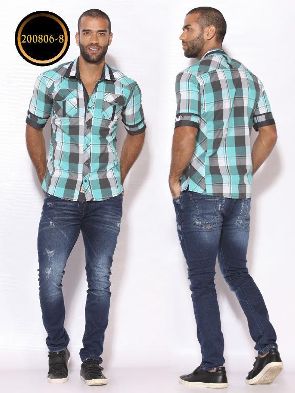 Camisa de Moda Colombiana Slim Fit para Hombre - Ref. 260 -200806-8 Verde