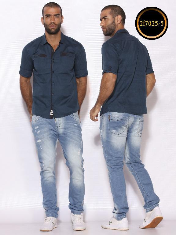 Camisa de Moda Colombiana Slim Fit para Hombre - Ref. 260 -2F7025-5 Azul