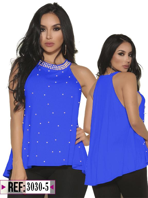 Blusa Moda Colombiana Cereza - Ref. 111 -3030 -5 Azul