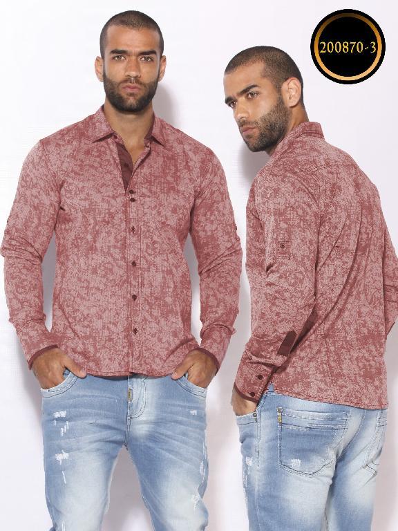 Camisa de Moda Colombiana Slim Fit para Hombre - Ref. 260 -200870-3 Rojo