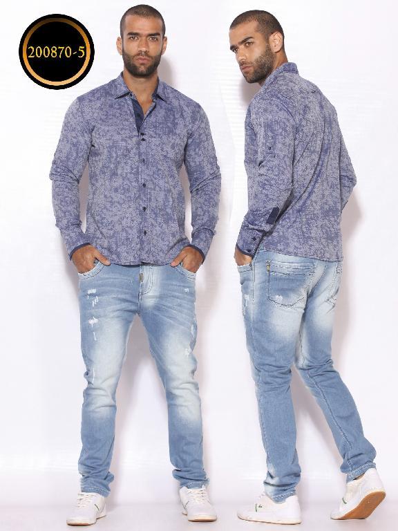 Camisa de Moda Colombiana Slim Fit para Hombre - Ref. 260 -200870-5 Azul