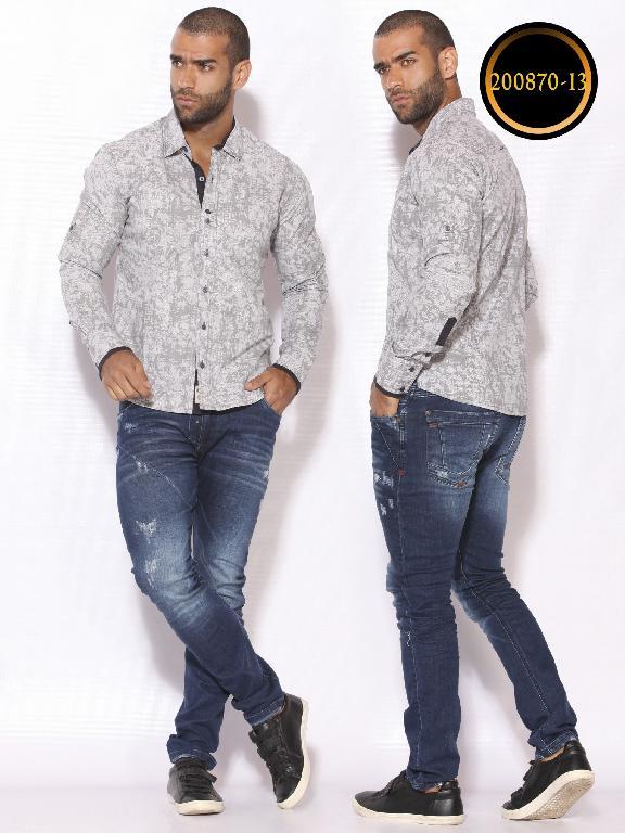 Camisa de Moda Colombiana Slim Fit para Hombre - Ref. 260 -200870-13 Gris