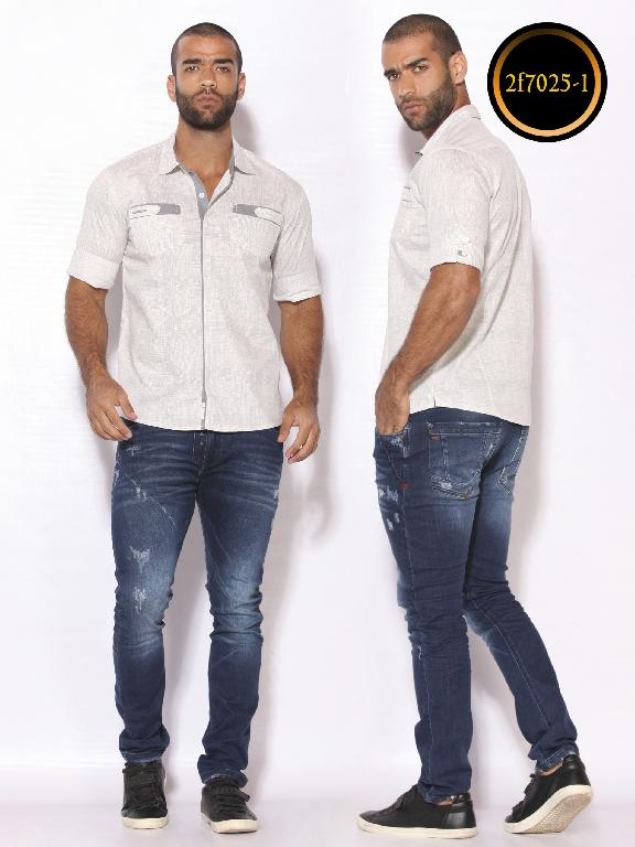 Camisa de Moda Colombiana Slim Fit para Hombre - Ref. 260 -2F7025-1 Blanco