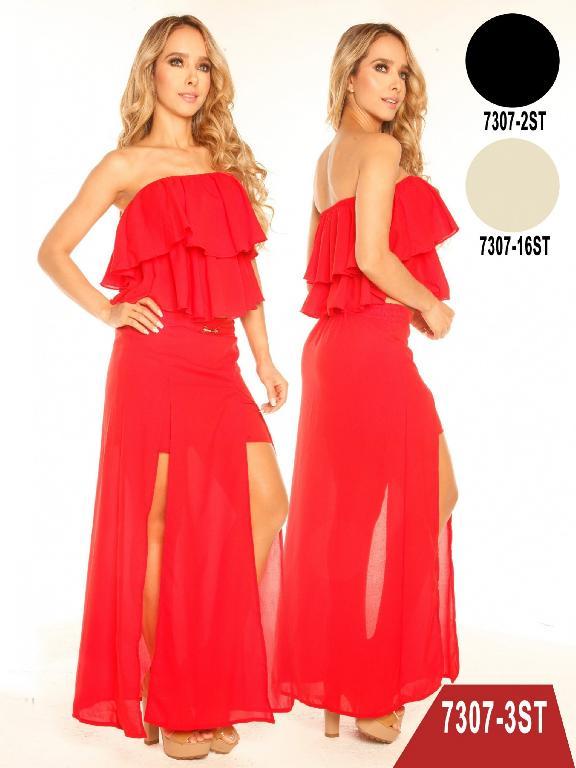 Conjunto Vestido Moda Colombiano Stafull  - Ref. 247 -7307-2 ST Negro