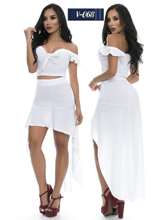Conjunto Vestido Colombiano Sapphire - Ref. 265 -V068-1 Blanco
