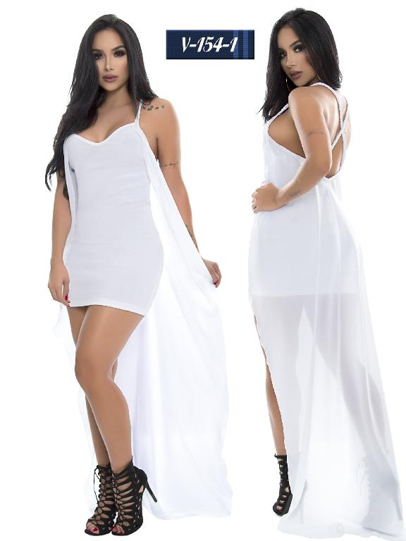 Vestido Colombiano Shapphire - Ref. 265 -V154-1 Blanco