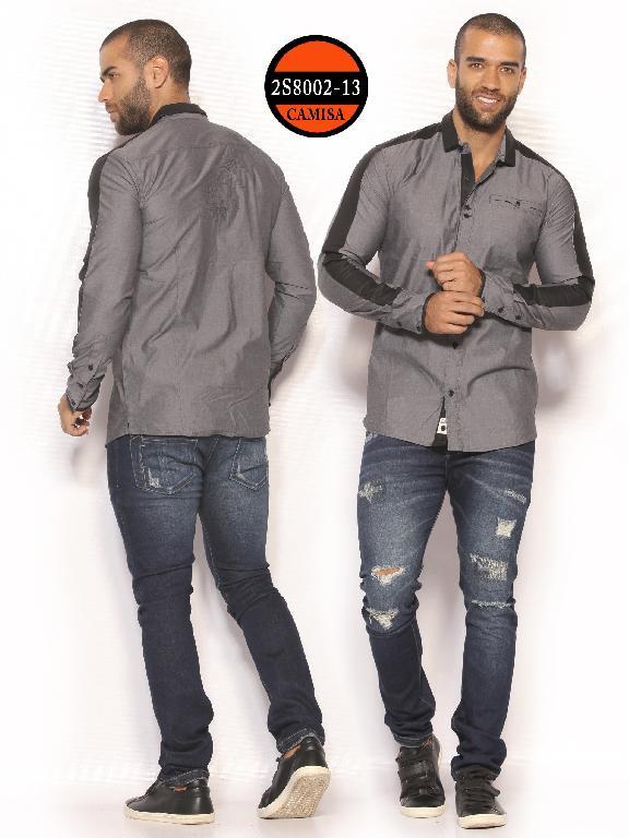 Camisa de Moda Colombiana Slim Fit para Hombre - Ref. 260 -2S8002-13 Gris