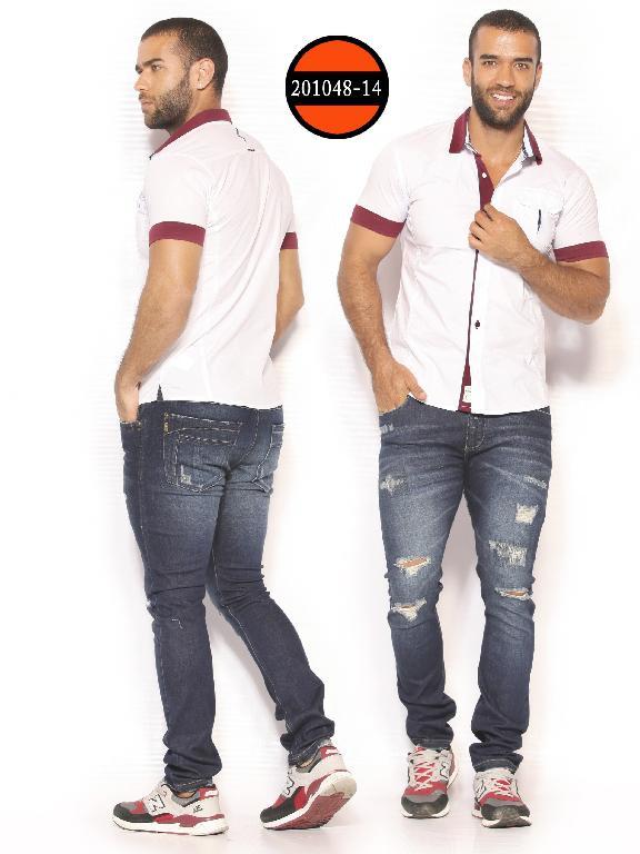 Camisa de Moda Colombiana Slim Fit para Hombre - Ref. 260 -201048-14 Blanco-Vinotinto