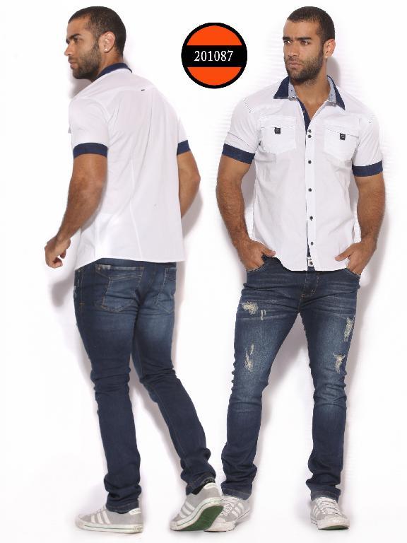 Camisa de Moda Colombiana Slim Fit para Hombre - Ref. 260 -201087-1 Blanca