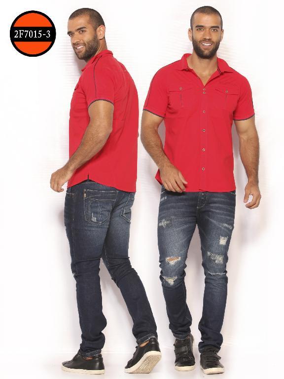 Camisa de Moda Colombiana Slim Fit para Hombre - Ref. 260 -2F7015-3 Rojo
