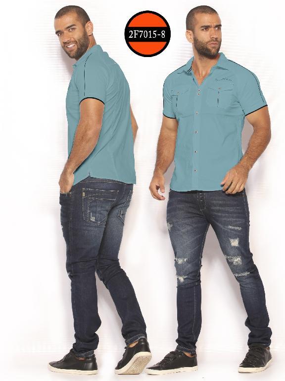 Camisa de Moda Colombiana Slim Fit para Hombre - Ref. 260 -2F7015-8 Verde