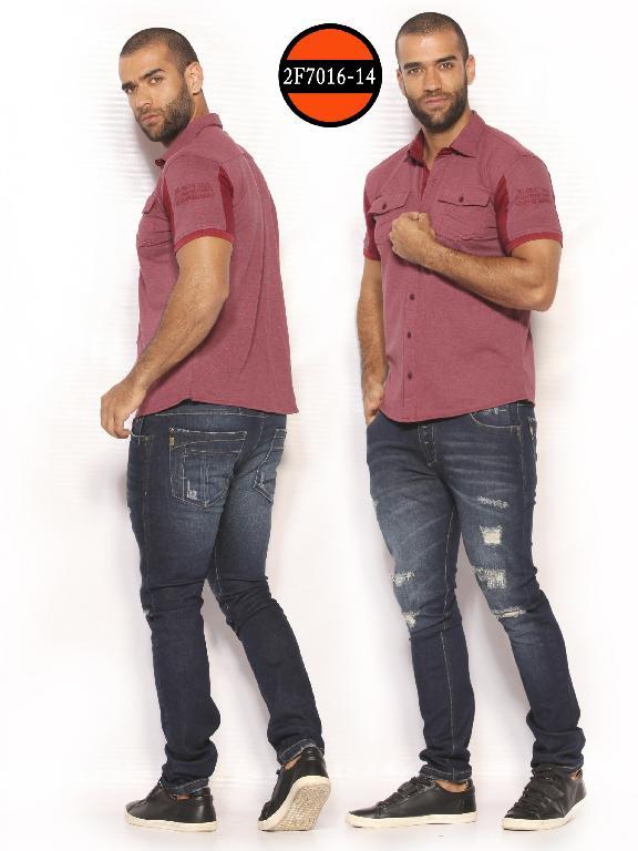 Camisa de Moda Colombiana Slim Fit para Hombre - Ref. 260 -2F7016-14 Vinotinto