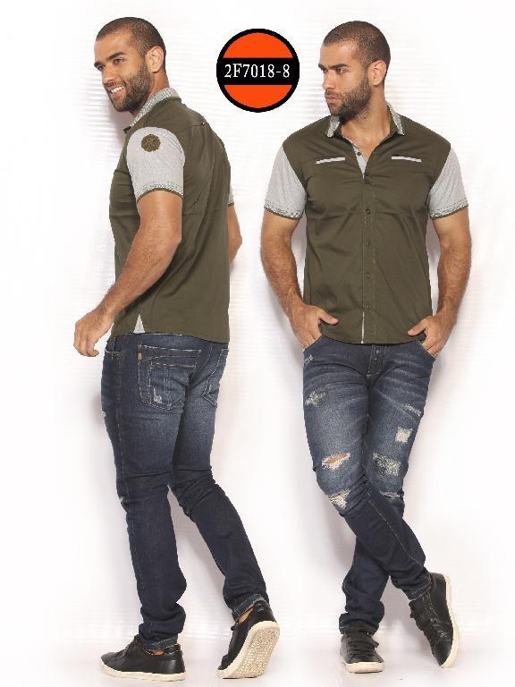 Camisa de Moda Colombiana Slim Fit para Hombre - Ref. 260 -2F7018-8 Verde