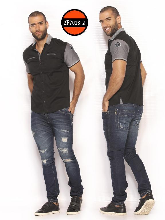 Camisa de Moda Colombiana Slim Fit para Hombre - Ref. 260 -2F7018-2 Negro