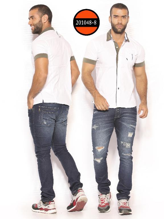 Camisa de Moda Colombiana Slim Fit para Hombre - Ref. 260 -201048-8 Blanco-Verde