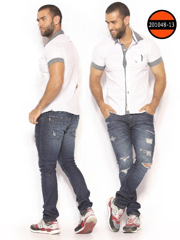 Camisa de Moda Colombiana Slim Fit para Hombre - Ref. 260 -201048-13 Blanco-Gris