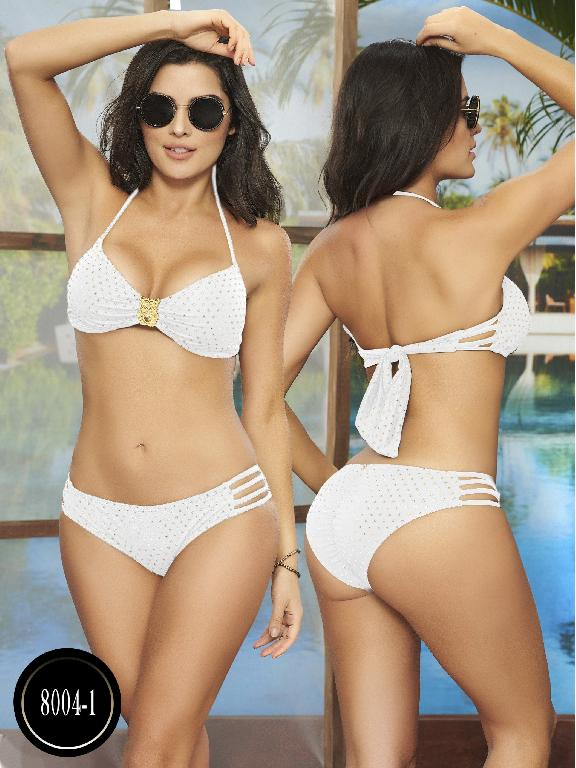 Bikini Con diseño lateral-Textura con brillo Copa removible. - Ref. 119 -8004-16 Beige