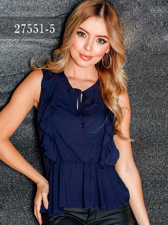 Blusas Colombianas Dinasty - Ref. 266 -27551-5 Azul