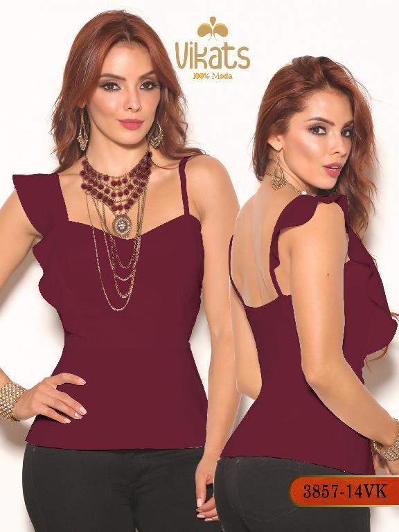 Blusa Moda Colombiana Vikats - Ref. 252 -3857-14 VK Vinotinto