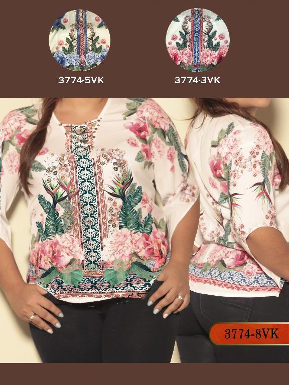 Blusa Moda Colombiana Vikats Plus Size - Ref. 252 -3774-5VK Azul