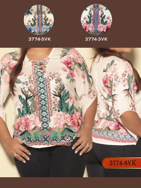 Blusa Moda Colombiana Vikats Plus Size - Ref. 252 -3774-3VK Rojo