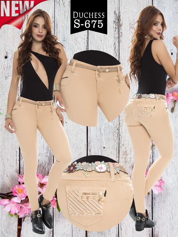 Colombian Sexy Jeans Butt Lifting Beige Color Duchess - Ref. 237 -675 S