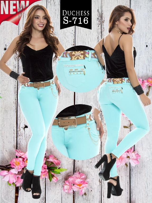 Colombian Jeans Butt Lifting Aqua Blue Color Duches  - Ref. 237 -716 S