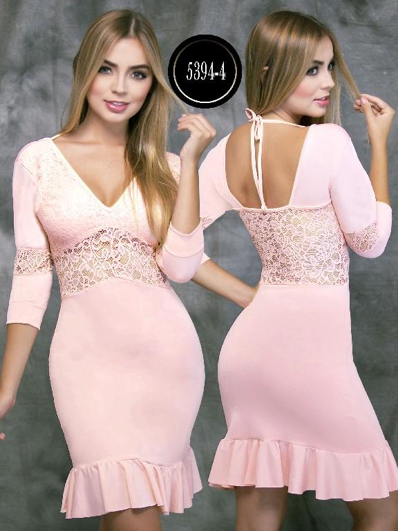 Vestido Colombiano - Ref. 119 -5394-4 Rosado
