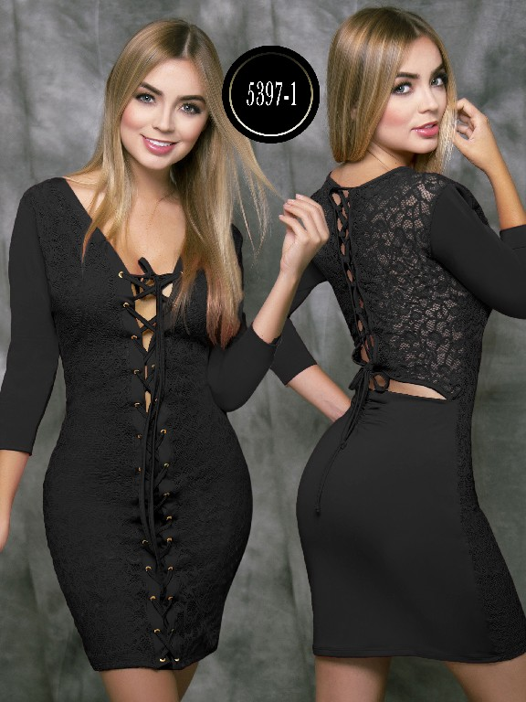 Colombian dress - Ref. 119 -5397-1 Negro